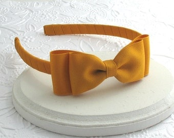 Mustard Bow Headband, Toddler Girls Bow on Hard Headband, Mustard Hair Bow Headband