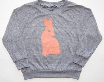SALE | Bunny | Kids Long Sleeve Raglan | Heather Grey | Peach | Unisex Toddler L/S Shirt | Screenprinted | American Apparel