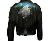 80s Fringed Jacket Vintage Mens Vanguard Leather Black Suede and Black Leather Rocker Motorcycle Jacket with Airbrushed Wolf Mns Sz Large