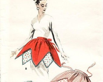 ON SALE Vintage 1950's Apron Pattern - Butterick 7959 - Misses' Harlequin Aprons in Two Styles - 1950's Hostess Apron - One Size Pattern