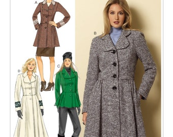 SZ 14/16/18/20/22 - Butterick Coat Pattern B6143 - Misses' Round Collar Coats or Jacket - Custom Fit Bust for A/B, C or D Cup Sizes