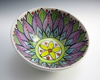 Ceramic Medium Serving Bowl -  Purple Lavender Lotus Flower - Mandala Pottery Bowl - Majolica Bowl - White Green - Kitchen Bowl -