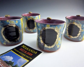 Solar Eclipse Ceramic Coffee Mug - Yellow Blue - Pottery Clay Mug - Coffee Cup - Commemorative - Makanda - 12 ounce - Total Solar Eclipse