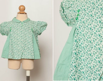 vintage 50s 60s toddler girl's blouse green top