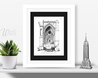 ARCHITECTURAL PRINT - Antique Architecture Drawing, Cathedral Drawing, Office Decor, Gift for Architect, Interior Design, French Home Decor