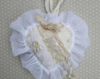Shabby Chic White Valentines Day Heart Ornament Victorian Cottage  Wedding Decor Quiltsy Handmade