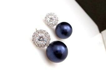 Bridal Jewelry wedding earrings bridesmaid prom party gift christmas 12mm swarovski midnight blue pearl round cubic zirconia post earrings