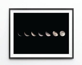 Phases of the Moon Poster, Large Wall Art, Oversized Art, Large Photography, Phases Of The Moon Photography, Trending Items, Trending Now