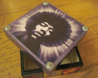 Jimi Hendrix Handcrafted Decoupauged Small Wooden Trinket Box