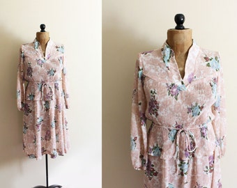 vintage dress 70s pink peplum floral print accordion pleat feminine 1970s womens clothing size small s medium m