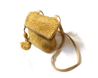vintage purse handbag mustard yellow 70s velvet tassel foldover hobo 1970s womens shoulder bag