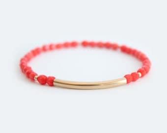 Coral Beaded Bar Bracelet - Gold Filled or Sterling Silver - Nuelle