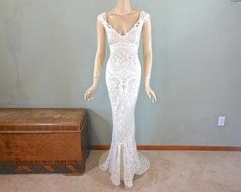 Ivory MERMAID Lace Wedding Dress Boho Wedding Dress Vintage Inspired Wedding Dress Cap Sleeve BOHEMIAN Wedding Dress Sz Medium