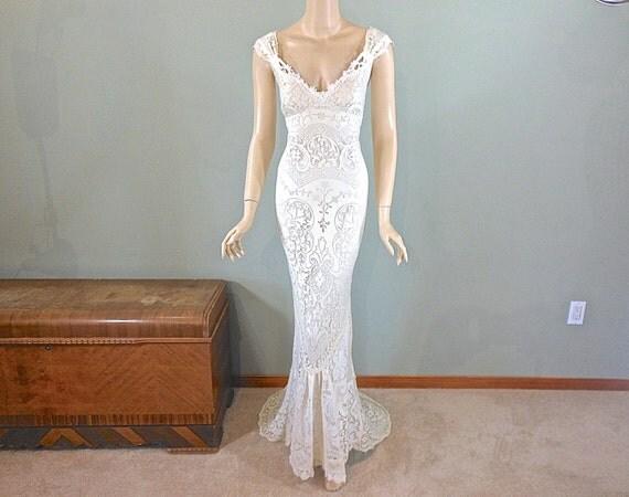 Ivory mermaid lace wedding dress boho wedding dress vintage for Bohemian mermaid wedding dress