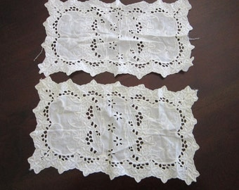 2 vintage embroidered doilies - cotton - 7 x 13 inches