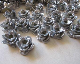 180 vintage resin roses - silver tone resin flowers - vintage Japan supply - 1/2 inch wide