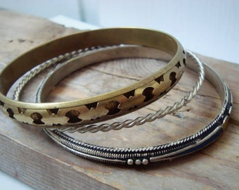 Bangle Bracelet Set - Sterling Silver Rope, Brass Filigree and Silver With Enamel Inlay. Boho Morocco Gifts Under 30 Colorful Bangles