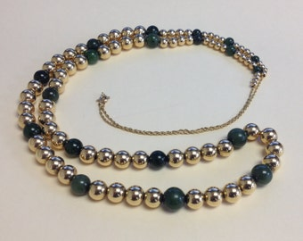 ON SALE 1980s 14K Gold and Jade Add A Bead Necklace / Seventy-two 14k Gold Beads Nine Jade Beads