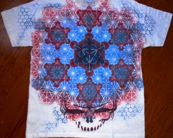 XL Sacred Geometry Steal Your Face Metatron's Cube  Hand Painted Chakra Tee shirt