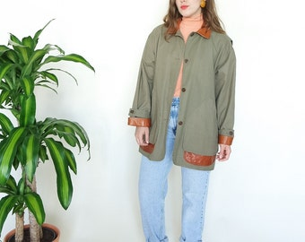 80s Burberrys Olive & Leather Barn Coat // sz M