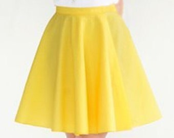 Bright Yellow Mini Cotton Circle Skirt - Skater Skirt  - Also in Colors: Hot Pink Purple Aqua Tan -Twirl Skirt -  Free Ship