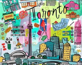 Toronto City, Wall art, Print, icons, modern, illustration, Global City,Home decor by Farida Zaman