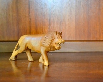 vintage hand carved wooden lion figurine / jungle / zoo animal / vintage nursery decor
