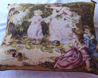 Vintage Country Children Mother Scene Needlepoint Pillow