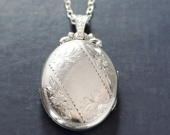 Sterling Silver Locket Necklace, Rare Engraved Floral Vintage Oval Pendant with Fancy Top and Bail - Ornamental Sentiment