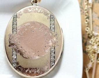 Large Oval Antique Gold Locket Necklace, Rare Edwardian Victorian Multi Tone Paste Stone Photo Pendant - Vintage Vogue