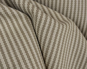 Donacloney Taupe Striped Linen Fabric