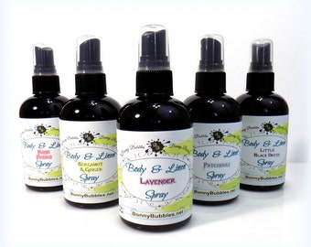 LEMON KISSES - Body and Linen Spray - 4 oz - sweet and lemony - scented mist sprayer - by Bonny Bubbles