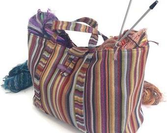 Striped Upholstery Tote Knitting Bag Project Organizer Large Tote Fully Lined Storage Tote Bag Inside Pocket Button Closure Purple Bag