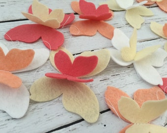 Butterfly Garland - Felt Butterflies - Spring Garland - Coral Butterflies - Peach Butterflies - Butterfly Party