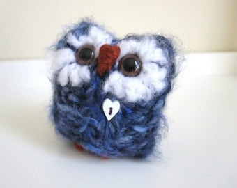 Blue Valentine Love Owl, Hand Knitted Wool and Mohair, Knitted Woodland Doll