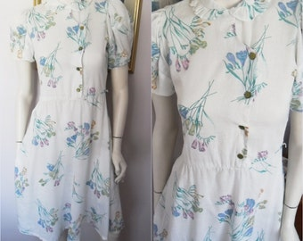 Vtg.80s does 40s  Floral Puff Sleeve Midi Dress.M.Bust 36.Waist 30.