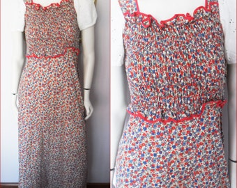 Vtg.1970s Red Blue Calico Eyelet Smocked Maxi Dress by Crazycat.Small.Bust 24-36.Waist 24-30.