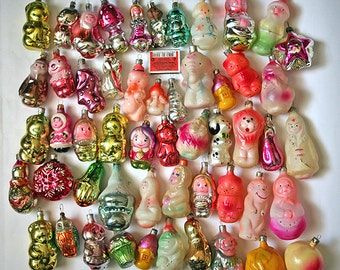 Vintage Christmas Decorations Glass Baubles Ornaments set of 53 Set 16 1970s from Russia Soviet Union USSR