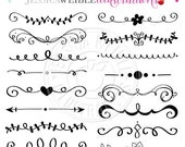 ON SALE Black Hand Drawn Text Dividers - Vintage Divider, Commercial Use OK - Swirl, Swoosh, Design Element, Divider Clipart
