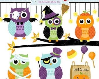 SALE Halloween Owls Cute Digital Clipart- Commercial Use OK - Halloween Graphics, Halloween Clipart, Cute Halloween Owl