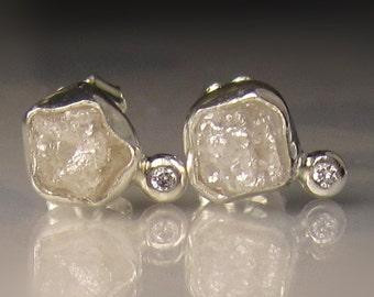 Natural Rough Diamond Earrings - 2.05CTS - Raw Diamond Earrings, Uncut Diamond Studs