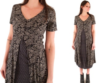 GIA 90s Sweet Black and Cream Floral Two Tone Print Slouchy Rayon Grunge Maxi Babydoll Dress Small S