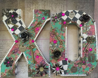 Altered Romance Altered Letters XO Large Letters Bridal Gifts Home AlteredheadArtwork Alteredhead Mixed Media Letters Wedding Gifts On Etsy