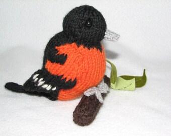 Bird - Balitmore Oriole -  Hand Knit Bird - Room Ornament - Display Bird