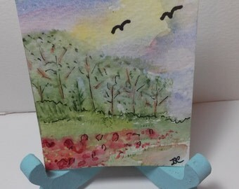 Tiny Spring ACEO Art Watercolor Painting Miniature Art