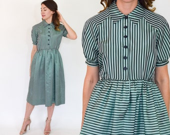 50s Striped Taffeta Dress | Green Stripe Day Dress | Small