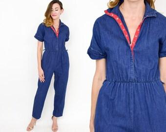 80s Denim Jumpsuit | Chambray Blue Cotton Romper Playsuit Pantsuit | Medium