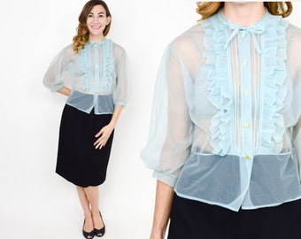 50s Blue Blouse | Powder Blue Sheer Nylon Top Shirt Blouse | Medium
