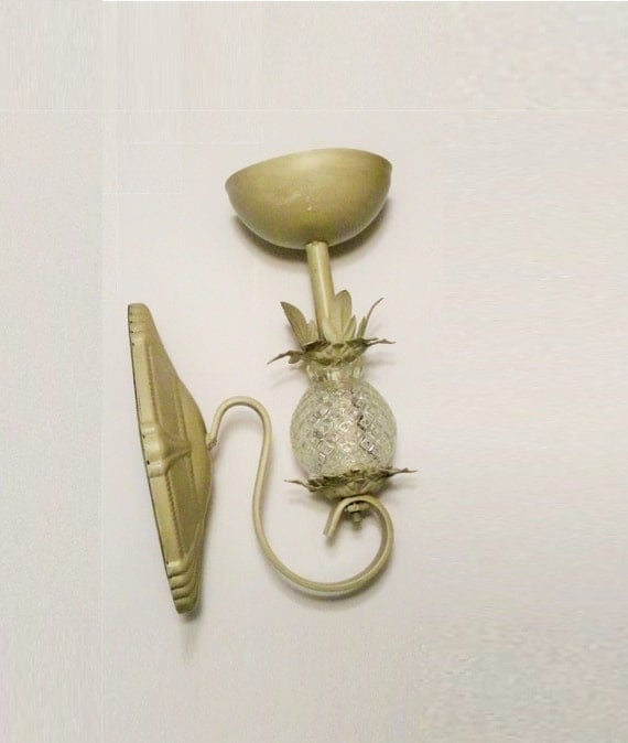 Wall Sconces Planters : Wall Planter Tole Pineapple Glass Sconce Fixture Vintage