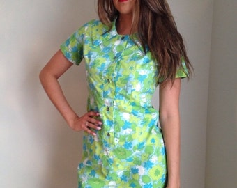 VALENTINES DAY SALE Vintage 1960s house dress floral dress lime green blue floral print button front mad men midcentury housewife pinup rock